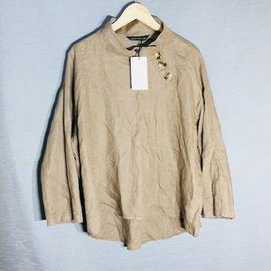 Zara 100% linen loose funnel neck minimalist top